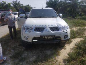 Pajero sport menabrak pengendara sepeda motor mengakibatkan motor hancur, Tapung